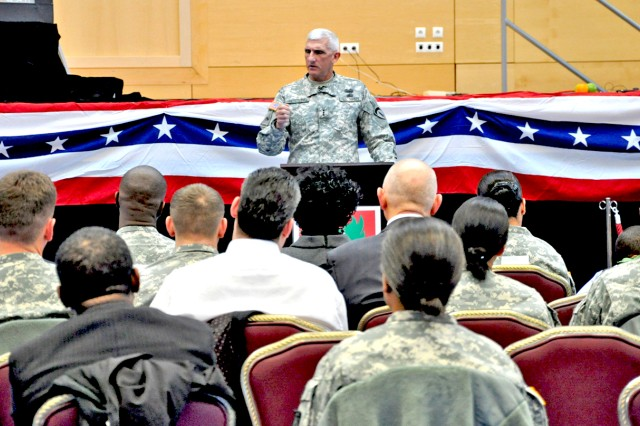 Lt. Gen. Mark P. Hertling, U.S. Army Europe commander, talks about the different ways other nation's approach values and their oaths of office.
