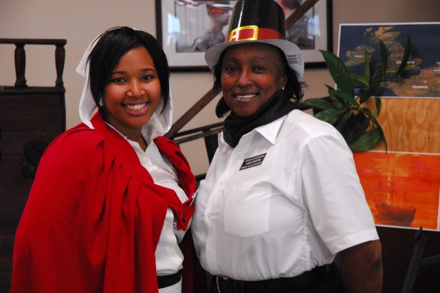The Drill Sergeant School dining facility staff, which held its Thanksgiving feast Wednesday, completed their Mayflower theme by dressing the part.