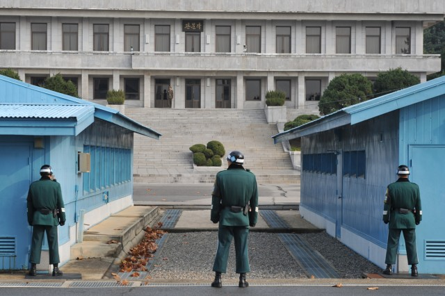 The Joint Security Area in Panmunjom is the only place in 155-mile-long and 2 ½ mile-wide Korean Demilitarized Zone where military-level meetings are held between the United Nations Command and the North Korean People's Army.