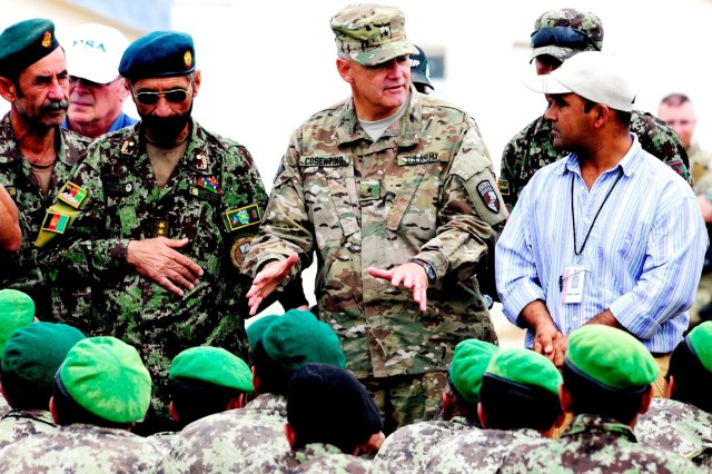 Brig. Gen. Tom Cosentino speaks with Afghan National Army trainees during a visit to the Regional Military Training Center - East, May 26. (Photo by Air Force Master Sgt. Quinton T. Burris)
