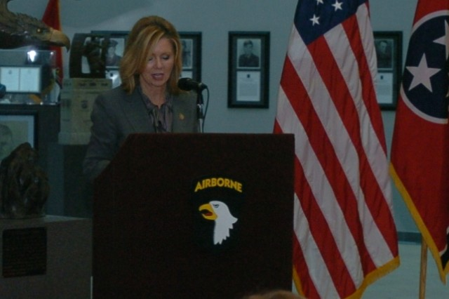 FORT CAMPBELL, Ky. (Nov. 24, 2011) - Rep. Marsha Blackburn, Tennessee's 7th District constituent to Congress, addresses an audience during a ceremony here Nov. 21 to honor 12 notable spouses of Fort Campbell Soldiers. The Outstanding Military Spouse Award recognizes spouses whose daily support and dedication is crucial to the lives of military members. (U.S. Army photo by Spc. Jennifer Andersson/Released)