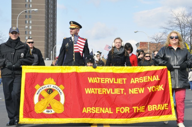 The Watervliet Arsenal led the City of Albany's Veterans Day Parade in Division One.  There were 12 divisions in the parade.