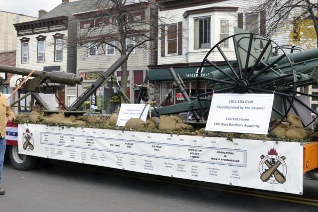 No parade would be complete without a float.  This Arsenal float consisted of a nuclear mortar system, today's mortar systems, and a 1915 gun that was made at the Arsenal but is now housed at the Christian Brothers Academy in Albany, N.Y.