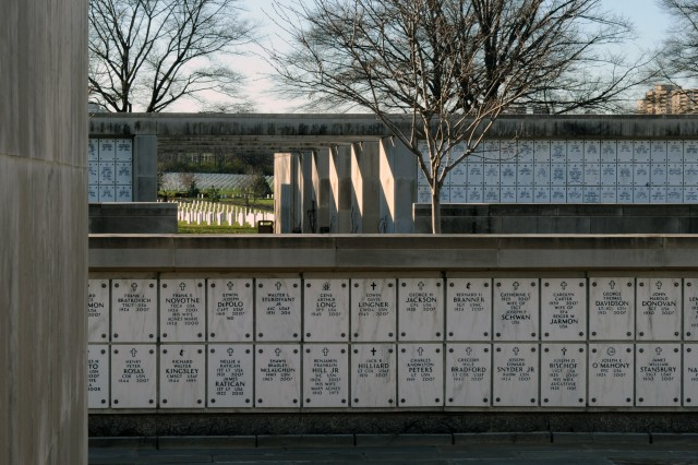 Construction on a 20,000-niche columbarium, like this smaller one at Arlington National Cemetery, Va., gets underway in January.