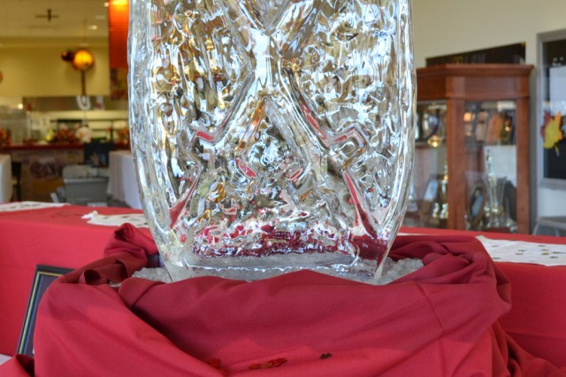The 10th Mountain Division (LI) symbol was sculpted in ice and put on display during the Thanksgiving meal at the Riva Ridge Dining Facility on Nov. 22.