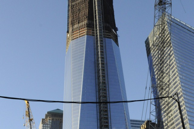 Pictured is one of the towers that is being reconstructed on the grounds near the area where the World Trade Center buildings stood.