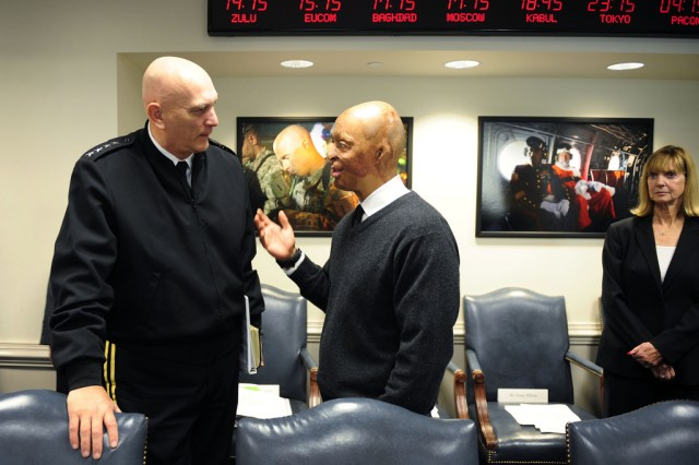 Dancing With The Stars sensation and actor, J.R. Martinez, talks about his role as a celebrity and former serviceman with Chief of Staff of the Army General Raymond T. Odierno as he waits to meet with Secretary of Defense Leon Panetta at the Pentagon Thursday, December 1, 2011. Panetta, a fan of Dancing With the Stars, invited Martinez to the Pentagon to meet and congratulate him. In 2003, Martinez was severely burned over 40 percent of his body while serving in Iraq as a U.S. Army Soldier.