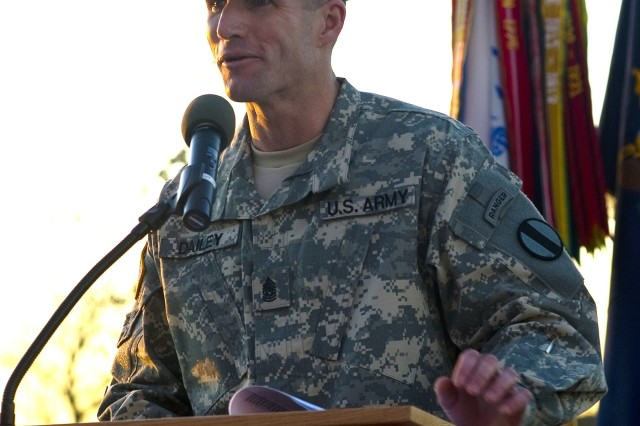 Command Sgt. Maj. Daniel A. Dailey, TRADOC command sergeant major, speaks about his goals as TRADOC's top noncommissioned officer at his Welcome Ceremony on Fort Eustis, Va., Dec. 1, 2011.