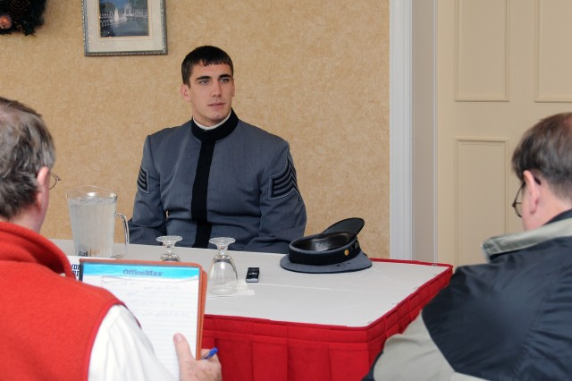 One of Army's three team captains, Andrew Rodriguez, speaks with reporters at a recent press luncheon at the Army Navy Country Club in Arlington, Va.