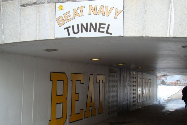 """The """"Beat Navy Tunnel"""" that travels under Washington Road at the United States Military Academy, West Point, N.Y., is where the Black Knights run through on their way to each home game."""