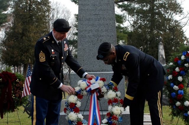 KINDERHOOK, N.Y. -- New York National Guard Brig. Gen. Renwick Payne, right, Director of the Joint Staff, and Command Sgt. Maj. Frank Wicks, present a memorial wreath at the grave site of President Martin Van Buren here Dec. 5 during the New York National Guard Military Forces Honor Guard annual commemoration of the president's birth.