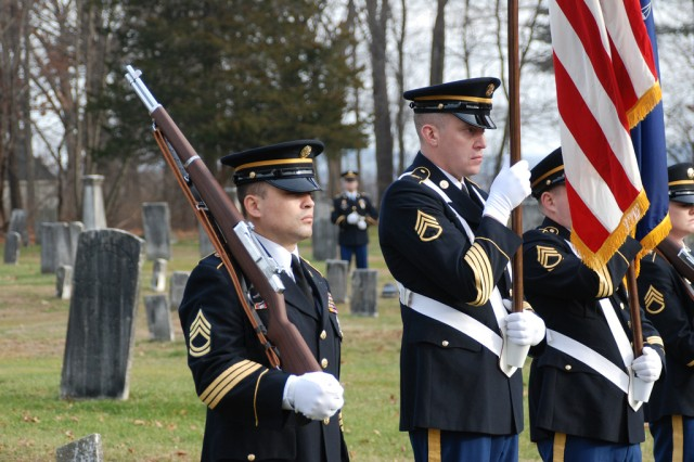 KINDERHOOK, N.Y. -- New York National Guard Soldiers render honors at the grave site of President Martin Van Buren here Dec. 5 during the New York National Guard Military Forces Honor Guard annual commemoration of the president's birth.