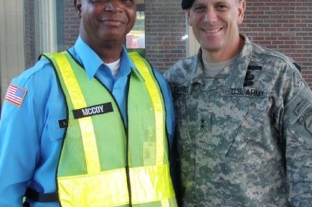 Gate guard Mr. McCoy and then-Maj. Gen. Michael Ferriter, when he was commanding general of the Maneuver Center of Excellence and Fort Benning, Ga. in 2010.