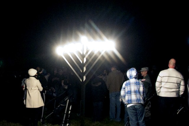 A menorah is lit Thursday outside of Fort Drum's Main Post Chapel.