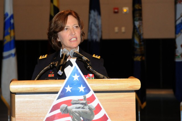 Lt. Gen. Patricia D. Horoho speaks to the crowd after getting her third star and being named 43rd Army surgeon general.