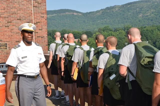 Cadet candidates line up under the watchful eye of West Point Cadet Sgt. Reed Caradine at the U.S. Military Academy Preparatory School's new home at West Point, N.Y.  More than 75 academy cadets remained at West Point over the summer to assist with the candidate training. Members of the Installation Contracting Office-West Point played a critical role in the school's move from Fort Monmouth, N.J., to West Point over the past two years, ensuring a successful start for the more than 240 cadet candidates this year who are eager to join the class of 2016.