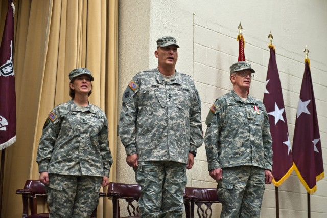 Gen. Raymond T. Odierno, Army chief of staff, hosts at the MEDCOM change of command ceremony in the Blesse Auditorium on Fort Sam Houston, Texas, Dec. 5, 2011. Maj. Gen. Patricia D. Horoho succeeds Lt. Gen. Eric B. Schoomaker (far right), commander since December 2007.