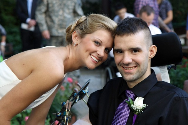 Sgt. Davin Dumar, an infantryman with 3rd Battalion, 21st Infantry, 1st Stryker Brigade Combat Team, 25th Infantry Division and Dana Dumar at their Oct 8 Wedding at Walter Reed Army Medical Center. (Courtesy photo)