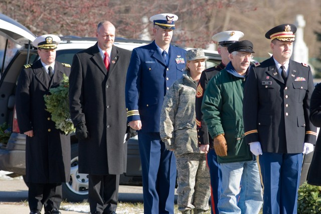 Representatives from all branches of the armed forces participated in the Weraths Across America ceremony in New Baltimore, Mich.
