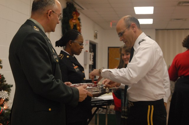 Maj. Gen. William M. Buckler Jr, commander, 412th Theater Engineer Command, celebrates Christmas during Chapel Service at the George A. Morris Army Reserve Center Dec. 11, 2011 in Vicksburg, Miss. (Photo: Capt. Maryjane Porter)