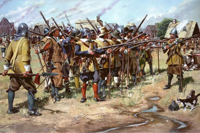This illustration depicts the first muster of Massachusetts Bay Colony militia in the spring of 1637. This event took place after the Massachusetts General Court on Dec. 13, 1636, established three regiments within the colony to defend against enemy attack and preserve settlements.