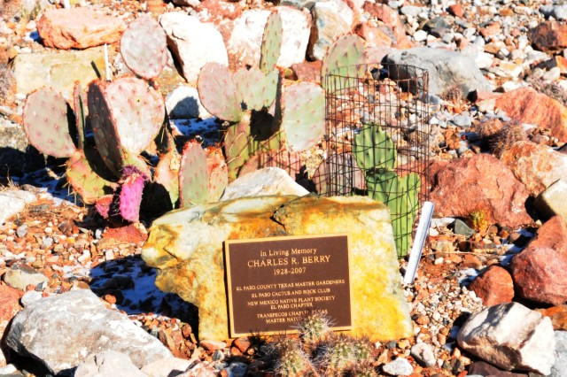 A memorial garden in memory of Master Gardener Charles R. Berry at Texas A & M AgriLife Research Center demonstration gardens, El Paso, Texas on Dec. 6, 2011. (Photo by Sgt. Barry St. Clair, Photo by US Army)