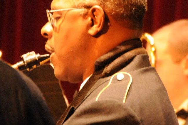 The 208th Army Reserve Band performs its annual Holiday Concert at the Newberry Opera House in Newberry, S.C. on December 10. The band performed a variety of Christmas favorites much to the enjoyment of a full house. Pictured is Sgt. 1st Class Wayne White on the baritone sax.