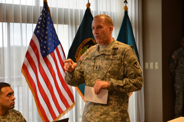 Command Sgt. Maj. Ronald Riling, Army Material Command command sergeant major, discussed the role senior NCOs play in reinforcing standards and discipline within the ranks.
