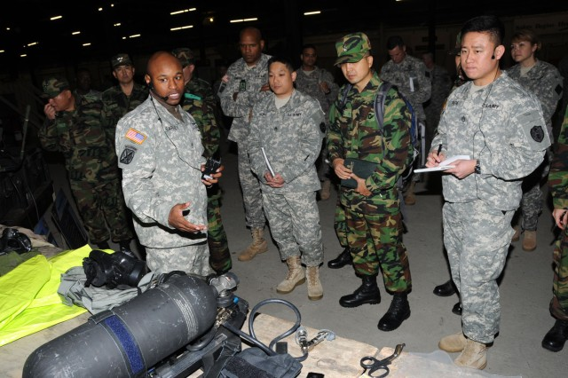 Staff Sgt. Maliek Kearney of the 22nd Chemical Battalion (Technical Escort) explains CBRNE response team equipment to Republic of South Korea Chemical, Biological, and Radiological Defense Command soldiers during a capabilities exercise at Aberdeen Proving Ground's Warrior Training Center Dec. 5. The CAPEX was part of a weeklong visit by 10 Korean soldiers to the 20th Support Command (CBRNE).