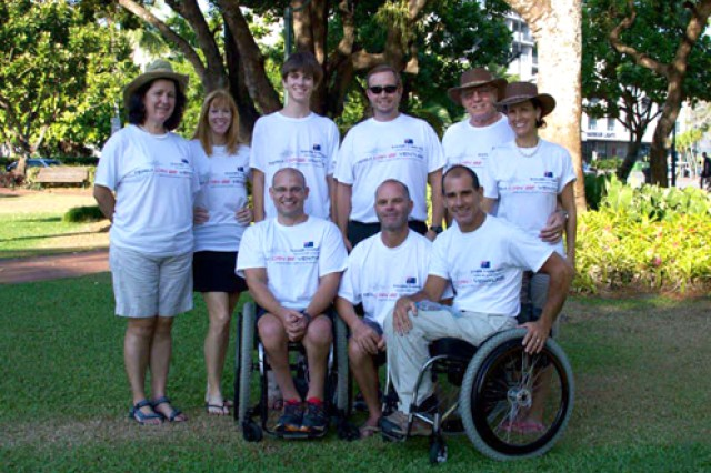 The three cyclists and support crew of Team Can Be Venture: Front row left to right:  Patrick Doak, Andrew Chafer and Carlos Moleda. Back row left to right: Joaninha Moleda Ribeiro, Sarah Moleda, Spencer Moleda, Herman Kramer, Allen Baxter and Suzy Baxter.