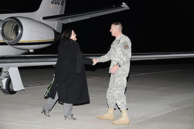 Col. John Hamilton, garrison commander of Redstone Arsenal, Ala., welcomes Katherine Hammack, assistant secretary of the U.S. Army for Installations, Energy and Environment, to the Arsenal at the Redstone Airfield. Her three-day visit will include briefings on the installation's energy and environmental footprint in the Huntsville area and Team Redstone's strategy for being good stewards of energy while protecting the nation.
