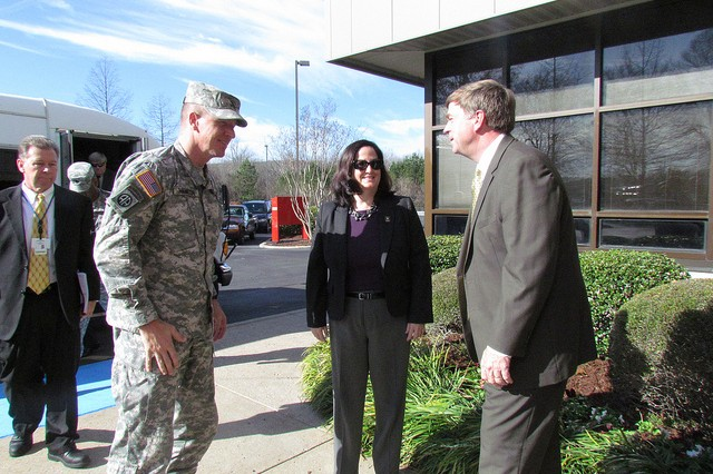 Tommy Battle, mayor of Huntsville, Ala., (right) greeted Katherine Hammack, the assistant secretary to the U.S. Army for Installations, Energy and Environment, and Col. John Hamilton, garrison commander of Redstone Arsenal, Ala., at Huntsville's Solid Waste Disposal Authority. The secretary received a briefing and learned how the waste-to-energy facility provides steam to Redstone.