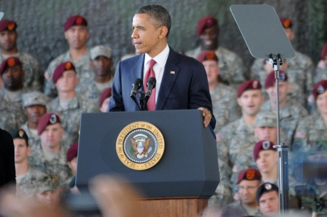 President Barack Obama spoke today to Soldiers at Fort Bragg, N.C., welcoming many back who had just returned from Iraq and lauding an end to the nine-year-long war there.