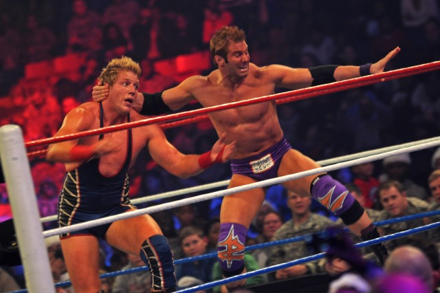 "World Wrestling Entertainment Superstars Jack Swagger and Zack Ryder grapple during the WWE's free  ""Tribute to the Troops"" show Sunday evening at the Crowne Coliseum in Fayetteville, N.C. More than twenty WWE Superstars and Divas went around Fort Bragg, N.C., taking pictures and signing autographs for Soldiers and families Dec. 9-10, 2011."