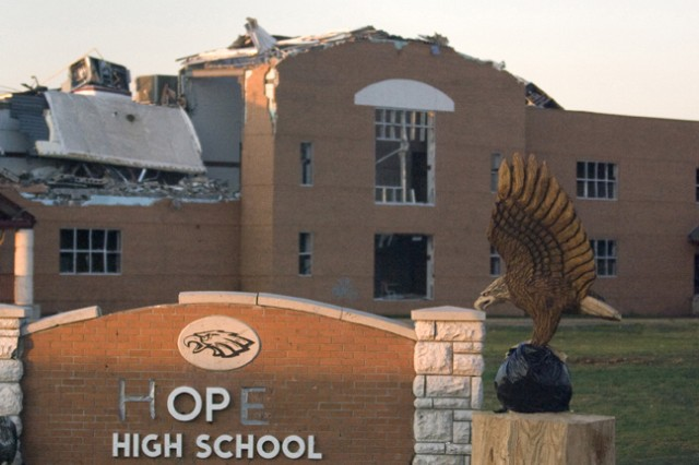 Joplin High School was destroyed by a May tornado that passed over the structure. The JROTC program, which had its offices and storage space in the basement, lost uniforms, computers, trophies and other mementos.