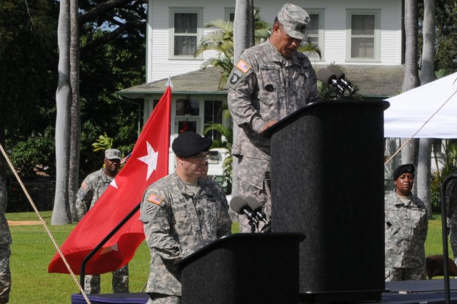 "Command Sgt. Maj. Iuniasolua T. Savusa, the U.S. Pacific Command's senior enlisted leader spoke to those in attendence during a Flying ""V"" ceremony held in his honor Dec. 19 at Fort Shatfer, historic Palm Circle."