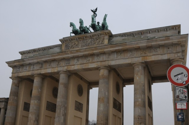 Brandenburg gate invites visitors into the city.