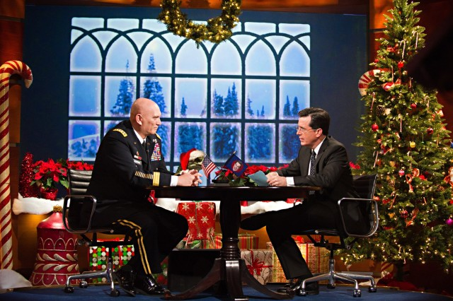 U.S. Army Chief of Staff Gen. Raymond T. Odierno is interviewed by Stephen Colbert at the Colbert Report show in New York City, NY. Dec. 14, 2011.