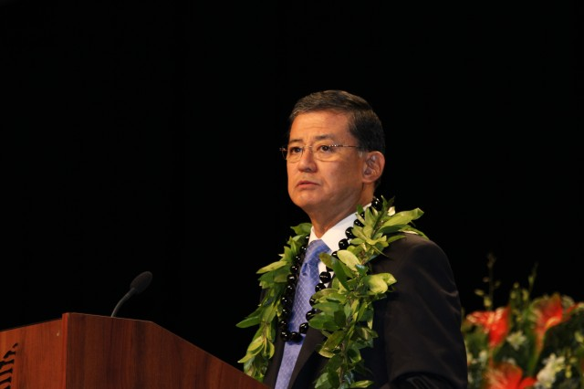 U.S. Secretary of Veteran Affairs Eric Shinseki, former Army Chief of Staff, delivers the keynote address during the Congressional Gold Medal ceremony in Honolulu, Hawaii.