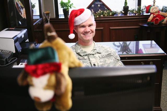Lt. Col. David Johnson, executive officer to the U.S. Army Space and Missile Defense Command/Army Forces Strategic Command's commanding general, showed his holiday spirit throughout December by sporting a Santa cap.