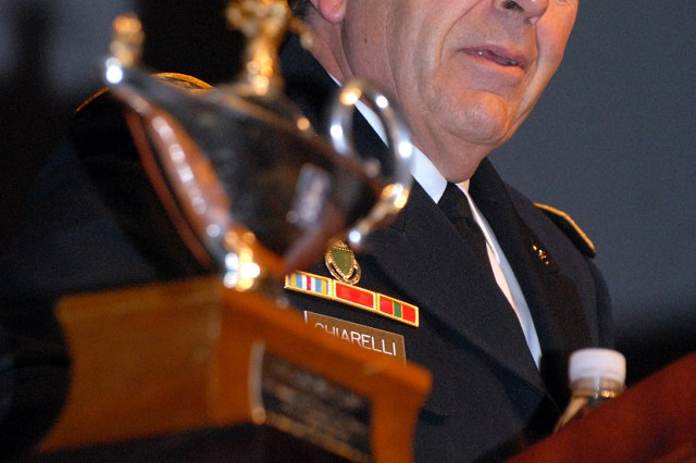 Vice Chief of Staff of the Army Gen. Peter Chiarelli delivers the address at the 2011-02 Intermediate Level Education, Command and General Staff College, graduation Dec. 16, 2011, in Eisenhower Auditorium, Fort Leavenworth, Kan.