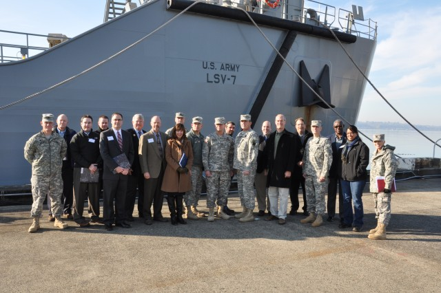 The 88th Regional Support Command conducts an Army Reserve Day for the legislators and their staff to view what the Army Reserve does at Peir 23 in Seattle, Wash., showing a very small portion of the Army fleet that  supports national security and the economy for the state.