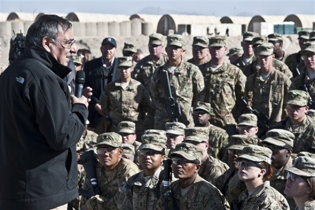 U.S. Defense Secretary Leon E. Panetta thanks troops from the 172nd Infantry Brigade on Forward Operating Base Sharana in Afghanistan, for helping to reach a turning point in the conflict, Dec. 14, 2011.