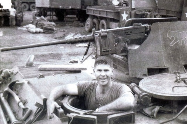 Then-1st Lt. Homer Hickam poses with one of the tanks he was responsible for repairing while assigned to Company C, 704th Maintenance Battalion, 4th Infantry Division in the South Vietnam highlands from 1967-1968.