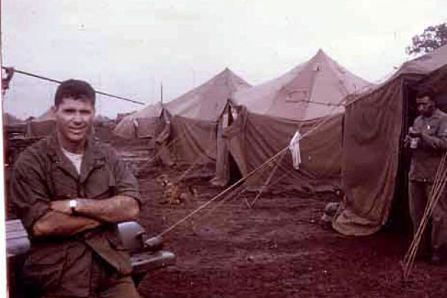 Then-1st Lt. Homer Hickam poses in his camp at Banmethuot, Vietnam, in August 1968. The mud, he remembered, was a constant problem and became a breeding ground for dysentery and malaria. Hickam earned a Bronze Star for his actions during an engagement in this large southern city.