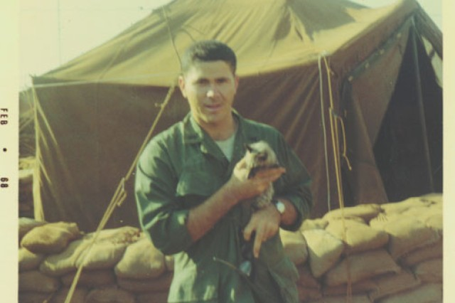 Then-1st Lt. Homer Hickam takes a break in Vietnam. Hickam lived in tents like this one for most of his year-long deployment in the late '60s with Company C, 704th Maintenance Battalion, 4th Infantry Division.