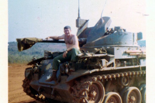 Then-1st Lt. Homer Hickam poses on one of the tanks he was responsible for repairing while assigned to Company C, 704th Maintenance Battalion, 4th Infantry Division in the South Vietnam highlands from 1967-1968. These tanks were critical in keeping the roads clear for supply convoys and Soldiers. The east-west Highway 19, which Hickam served along, was a particular favorite for North Vietnamese and Viet Cong ambushes.