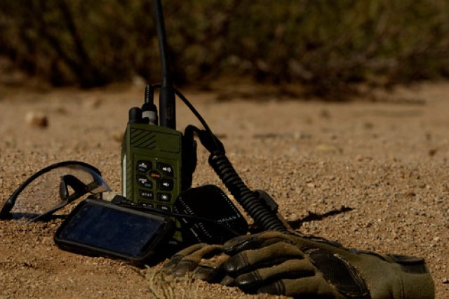 The Rifleman Radio incorporates radio-to-radio-to-radio relay capabilities that greatly extend the range of hand-held radios. A small computer screen displays specific battlefield information that can be updated by Soldiers throughout the field.