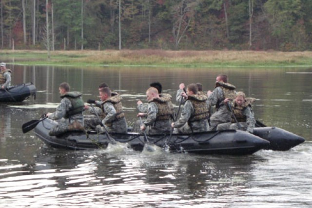 "University of Maryland ROTC cadets compete in the commander's challenge portion of the 2011 Ranger Challenge Competition, held in October 2011 at Fort Pickett, Va. Considered the ""varsity sport"" of ROTC, Ranger Challenge also includes a physical fitness test, casualty assessment, weapons check and intelligence report. The University of Maryland team came in second place for their brigade in 2011, but won the year before, going on to the international Sandhurst Competition at West Point, N.Y."