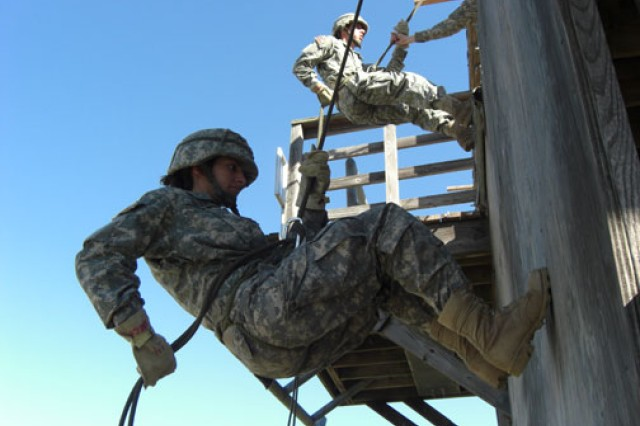 Cadet JoAnne Bistany of the University of Maryland ROTC battalion practices her rappelling skills on Fort A.P. Hill, Va., during a field exercise in October 2010.